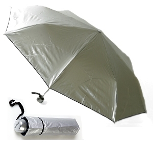 Aluminium Super Mini Folding Umbrella - Silver Chubby Handle