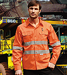 """Unisex Adults Hi-Vis Long Sleeve Cotton Drill Shirt with Reflective Tape """"X"""" Patte"""