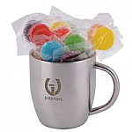 Assorted Colour Lolliops in Double Wall Stainless Steel Curved Mug