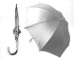 Aluminium Unisex Long Manual Umbrella - Silver Hook Handle