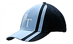 Brushed Heavy Cotton Cap with Fabric Inserts & Stripes on Crown & Peak