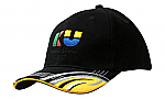 Brushed Heavy Cotton Cap with Sandwich Trim & Fabric Inserts & Embroidery Design on Peak