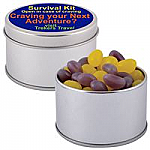 Corporate Colour Mini Jelly Beans in Silver 2 Piece Round Tin
