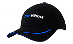 Brushed Heavy Cotton Cap with Sandwich Trim & Peak Embroidered Line